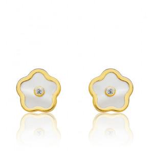 Boucles d'Oreilles Fleur Nacre & Or Jaune