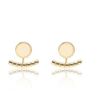 Boucles d'oreilles Comète blanc sable & plaqué or jaune