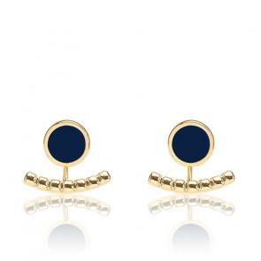 Boucles d'oreilles Comète bleu nuit & plaqué or jaune