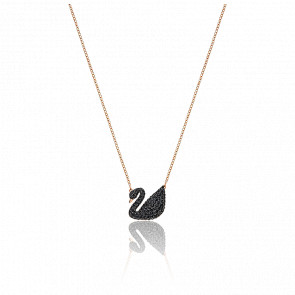 Collier Iconic Swan Noir & Plaqué Or Rose