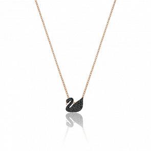 Collier Iconic Swan Petit Noir & Plaqué Or Rose