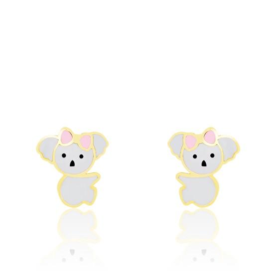 Boucles d'oreilles koala email & or jaune
