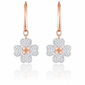 Boucles d'oreilles Latisha blanc, métal doré rose