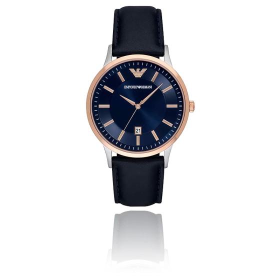 couleurs et frappant Excellente qualité acheter populaire Montre Homme Or Rose Cuir Bleu AR11188 - Emporio Armani - Ocarat