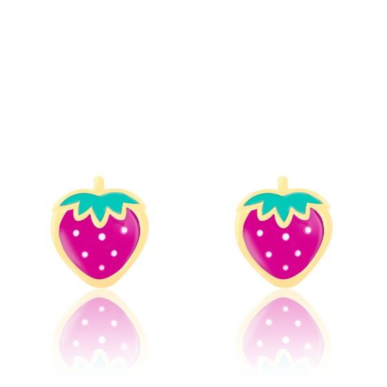 Boucles d'oreilles fraises email & or jaune