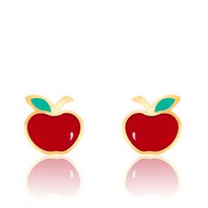 Boucles d'oreilles pomme email & or jaune