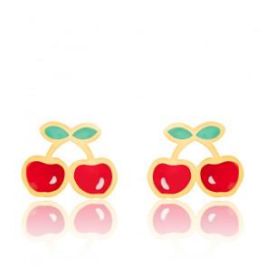 Boucles d'oreilles cerises email & or jaune