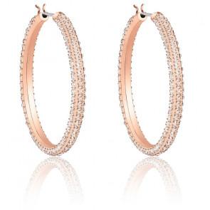 Créoles Stone rose, métal doré rose et cristaux