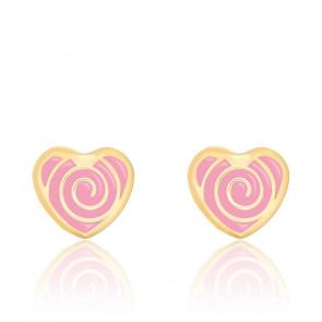 Boucles d'oreilles cœur spirale email rose & or jaune
