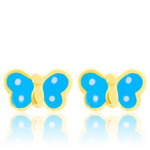 Boucles d'oreilles papillons bleus email & or jaune
