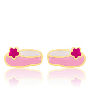 Boucles d'oreilles ballerines roses email & or jaune