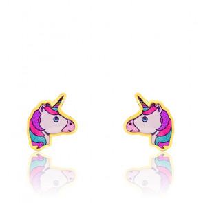 Boucles d'oreilles licorne or jaune 9K