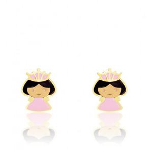 Boucles d'oreilles princesse email & or jaune