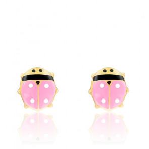 Boucles d'oreilles coccinelles roses email & or jaune