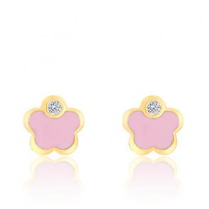 Boucles d'oreilles fleur oxyde, email rose & or jaune