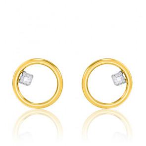 Boucles d'oreilles cercle fil rond, diamant et or jaune 9K