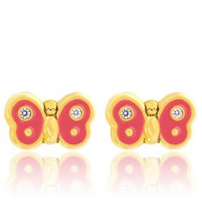 Boucles d'oreilles papillon oxyde, email rose & or jaune