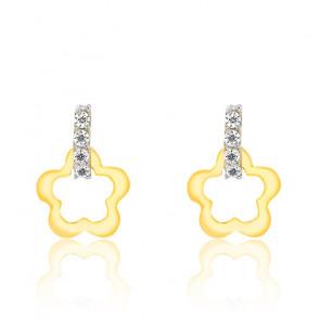 Boucles d'oreilles bicolore fleur or jaune