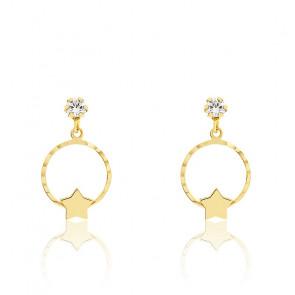 Boucles d'oreilles cercle étoile oxyde & or jaune