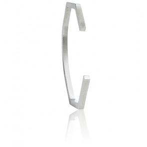 Bracelet ligne carrée argent tôle froissée