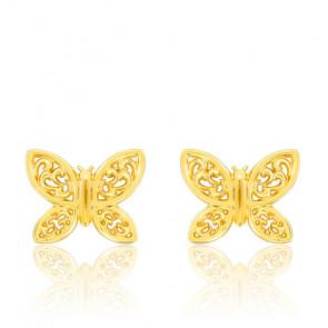 Boucles d'oreilles papillon ajouré or jaune