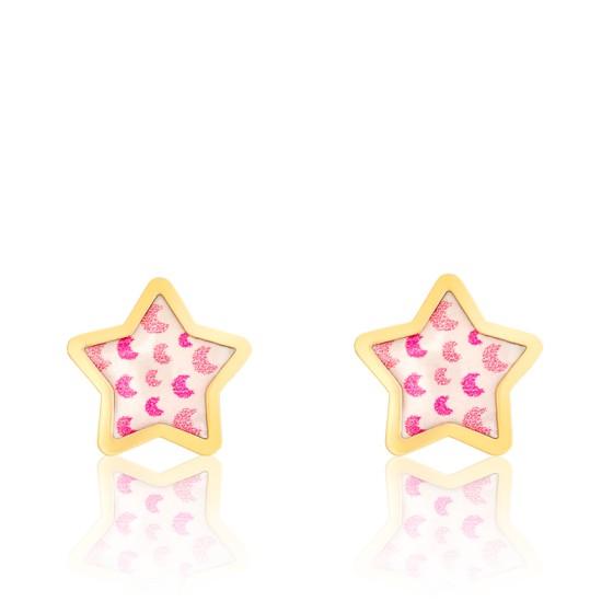Boucles d'oreilles étoiles, lunes rose & or jaune
