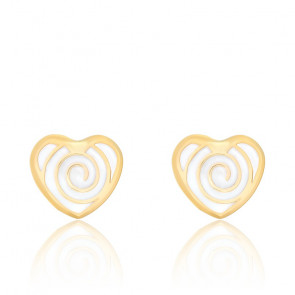 Boucles d'oreilles coeur spirale email & or jaune