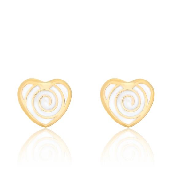 Boucles d'oreilles coeur spirale email & or jaune