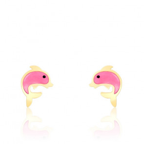 Boucles d'oreilles dauphin rose email & or jaune