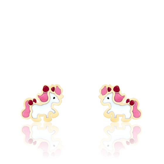 Boucles d'oreilles poney email & or jaune