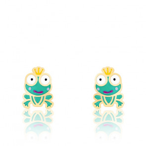 Boucles d'oreilles grenouille email & or jaune