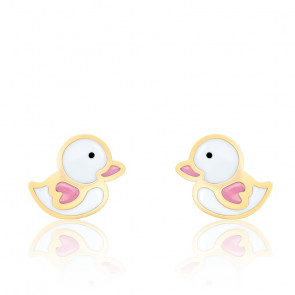 Boucles d'oreilles canard email & or jaune