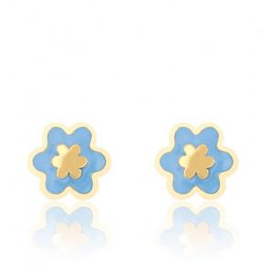 Boucles d'oreilles fleur bleue email & or jaune