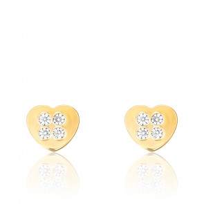 Boucles d'oreilles coeur zircon & or jaune