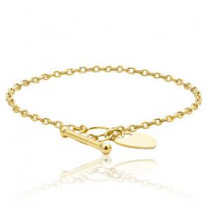 Bracelet coeur t-bar or jaune 9K