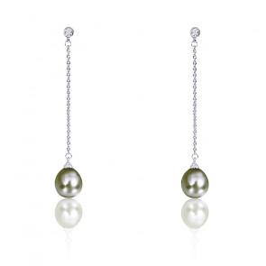 Boucles d'oreilles perles de Tahiti, diamants et or blanc 18 carats