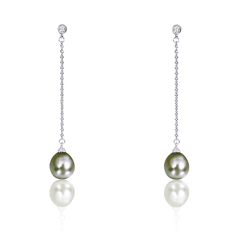 chercher modèle unique vraiment à l'aise Boucles d'oreilles perles de Tahiti, diamants et or blanc ...
