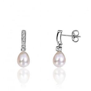 Boucles d'oreilles pendantes, perles de culture, diamants et or blanc 18K