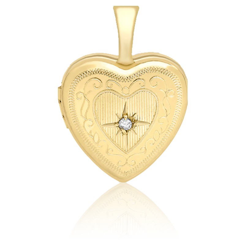 Pendentif photo, coeur serti diamant & or jaune 9k
