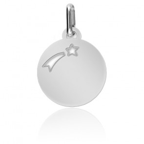 Médaille Etoile Filante Or Blanc
