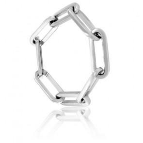 Bracelet Maille Rectangulaire Argent