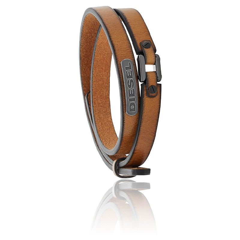 Bracelet coiled cuir brun, DX0984040