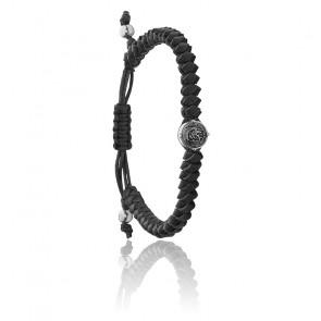 Bracelet stackables fils tressés cuir noir, DX1043040