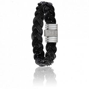 Bracelet 696D Poils Éléphant Tressé, Diamants & Or Blanc 18K