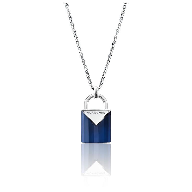 Collier Cadenas Quartz Bleu & Plaqué Rhodium
