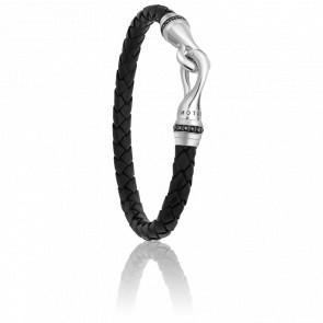Bracelet Black Zircons en Cuir & Argent