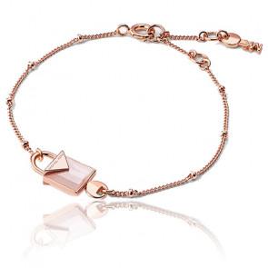 Bracelet Cadenas Quartz Rose & Plaqué Or Rose 14K
