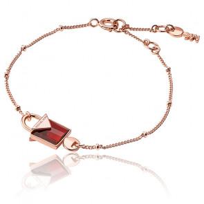 Bracelet Cadenas Quartz Rouge & Plaqué Or Rose 14K