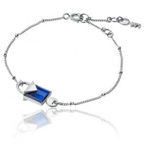 Bracelet Cadenas Quartz Bleu & Plaqué Rhodium