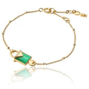 Bracelet Cadenas Agate Verte & Plaqué Or Jaune 14K